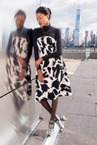 print dress and heels