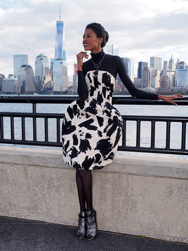 fashion, print, empty sky 9/11, fall, dress, turtleneck, angelicaguillen, liberty park, zara, hm, bcbg
