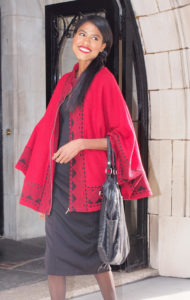 Red cape, black dress, stylehopping, angelica guillen, fall, holidays