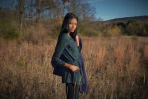 plaid, blue cape, fall, blue boots, style hopping, angelica guillen, forever21