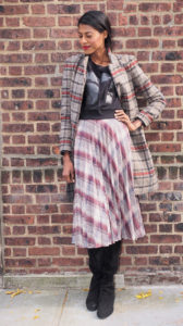 Angelica Guillen, stylehopping, Plaid skirt, black top, fall, brick