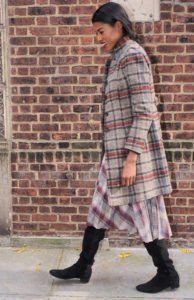 Angelica Guillen, stylehopping, Plaid skirt, black top, fall, brick