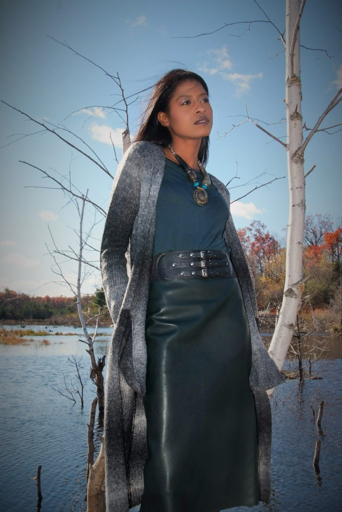 fall, green, leather skirt, lake, style hopping, angelica guillen