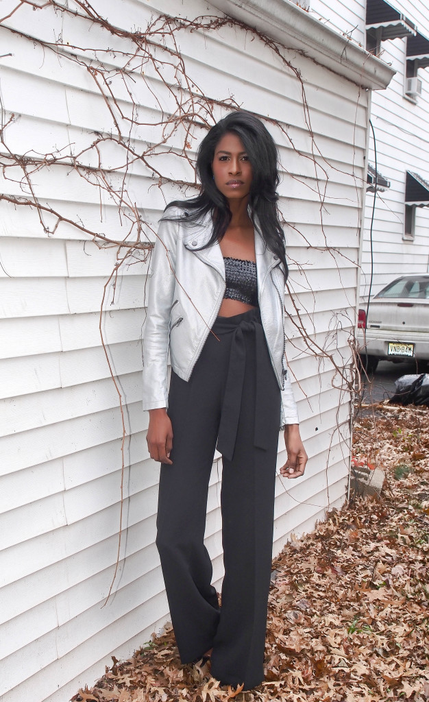 sequined tube top, high waist pants, silver jacket, holidays, stylehopping, angelica guillen