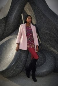 ground for sculpture, fall fashion, style hopping, angelica guillen, tall boots, colors, print