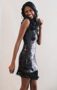 Dark lips, loose waves, Sequin and fringe, Angelica Guillen
