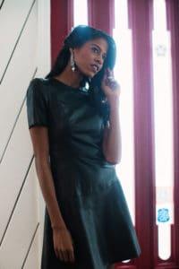 leather dress, Zara, Angelica Guillen