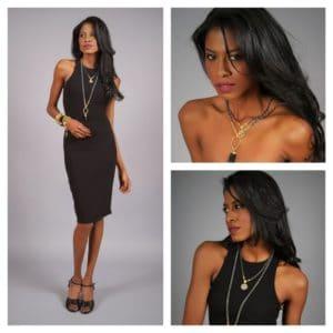 Harper Hallam, jewelry, black dress, angelica guillen