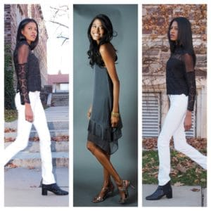 HM dress, white jeans, black lace top