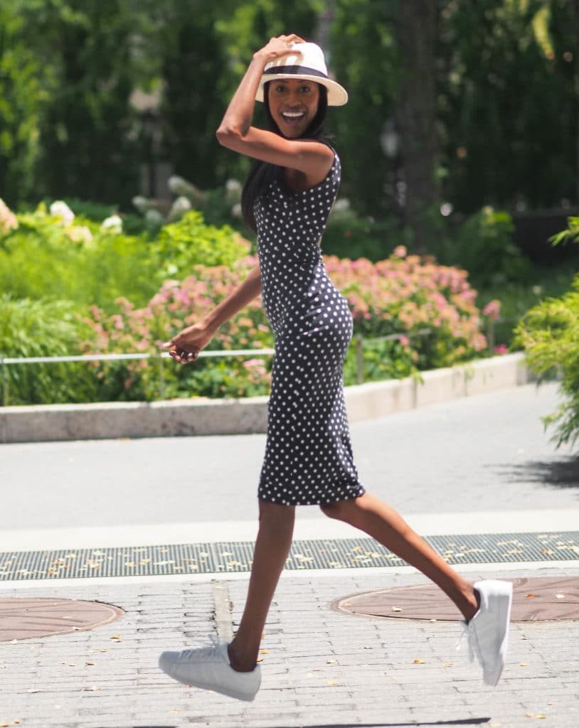 Polka dot dress and white hat