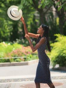 Polka dot dress and white fedora hat
