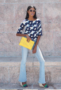 Floral blouse, flare jeans