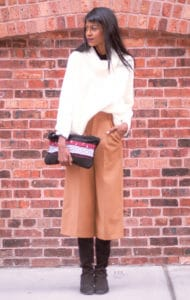 white sweater culottes