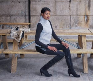 tall boots, opaque tights