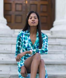 Calvin Klein wrap dress sitting