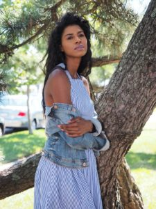 Shein Dress, Off shoulder top-denim jacket