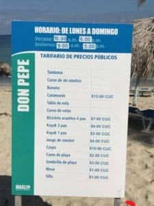 Beach schedule in La Habana
