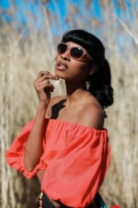 Bold blouse Orange profile sunglasses