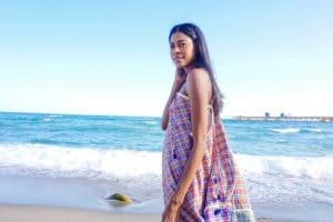 Chiara maxi dress front beach- half