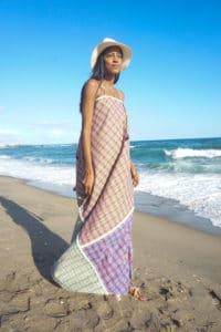 Chiara maxi dress front beach-hat